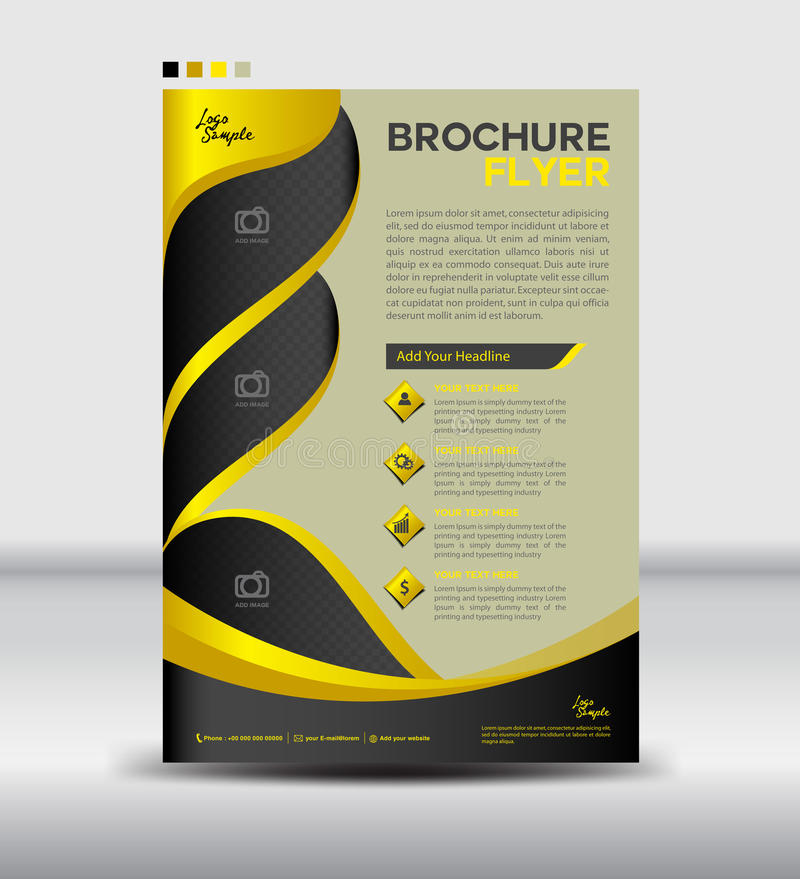 download yellow and black brochure flyer templatenewsletter design leaf stock vector illustration