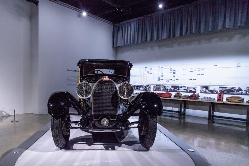 Yellow and black 1929 Bugatti Type 44 Fiacre stock images