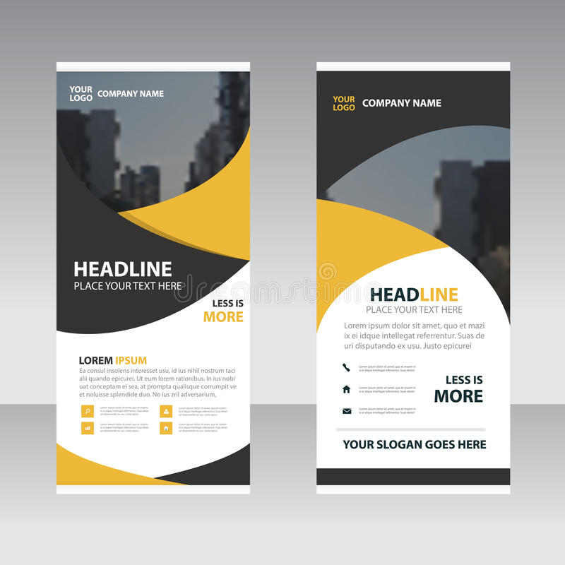 Yellow black Business Roll Up Banner flat design template ,Abstract Geometric banner template Vector illustration set, abstract p. Resentation leaflet brochure stock illustration