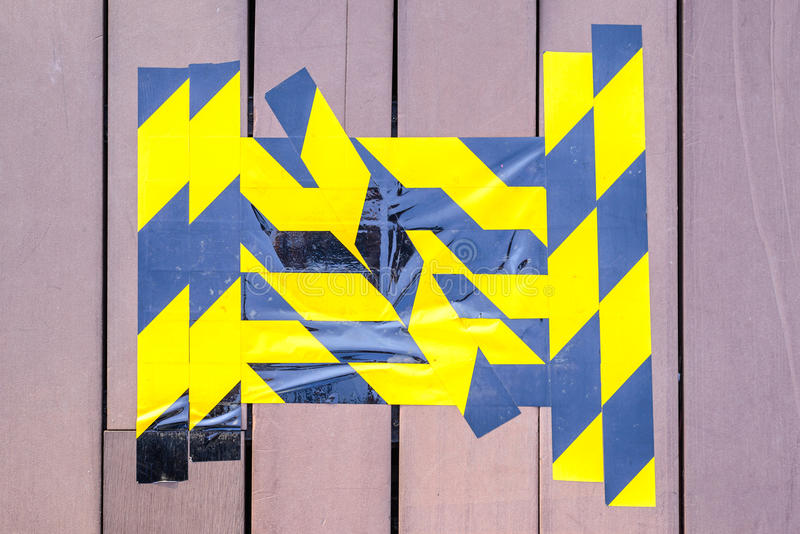 Download Yellow And Black Caution Tape Marked On Broken Wooden Floor Stock Image - Image of signal, brave: 59150917