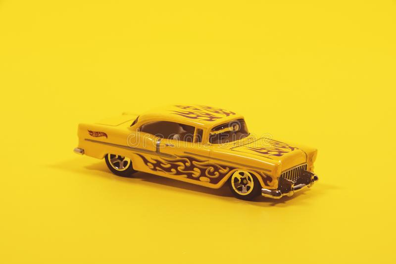 Yellow and Black Coupe Scale Model stock images