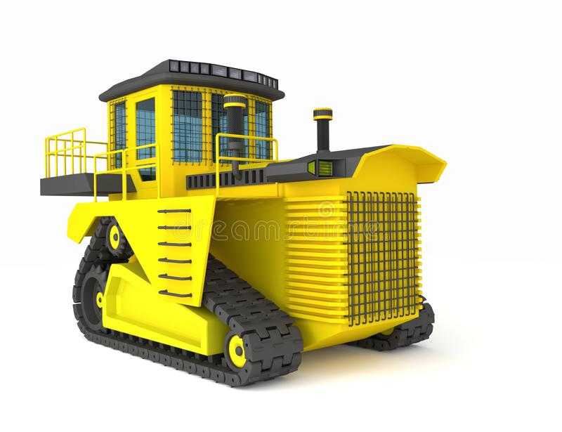 Yellow black crawler tractor 3d illustration, 3d render royalty free stock photo