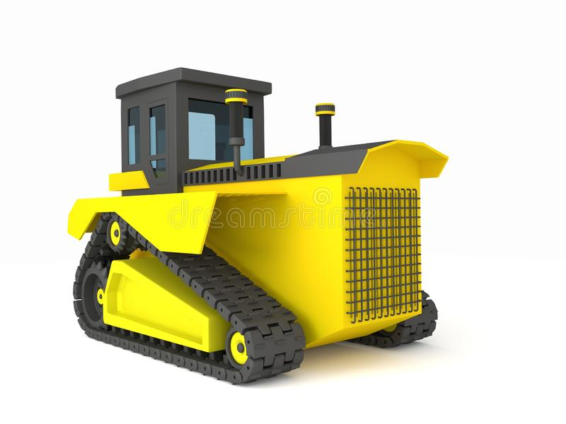 Yellow black crawler tractor 3d illustration, 3d render royalty free stock images