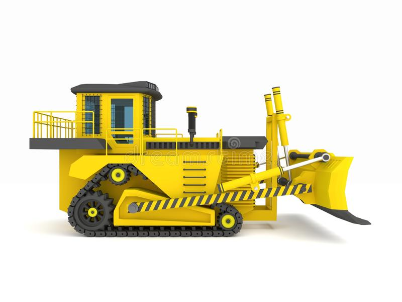 Yellow black crawler tractor with scoop 3d illustration, 3d render stock image
