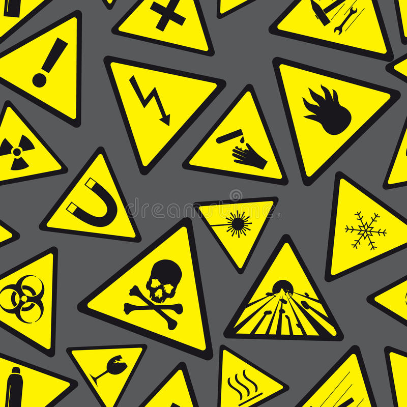 Yellow and black danger and warning signs pattern royalty free illustration