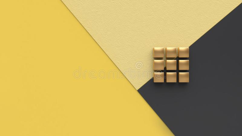 Yellow black flat and gold cube minimal background 3d render. Ing vector illustration