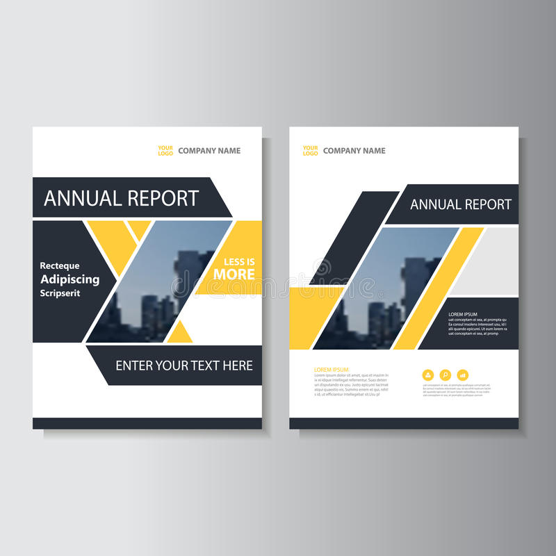 Yellow black geometric Vector annual report Leaflet Brochure Flyer template design, book cover layout design. Abstract yellow presentation templates stock illustration