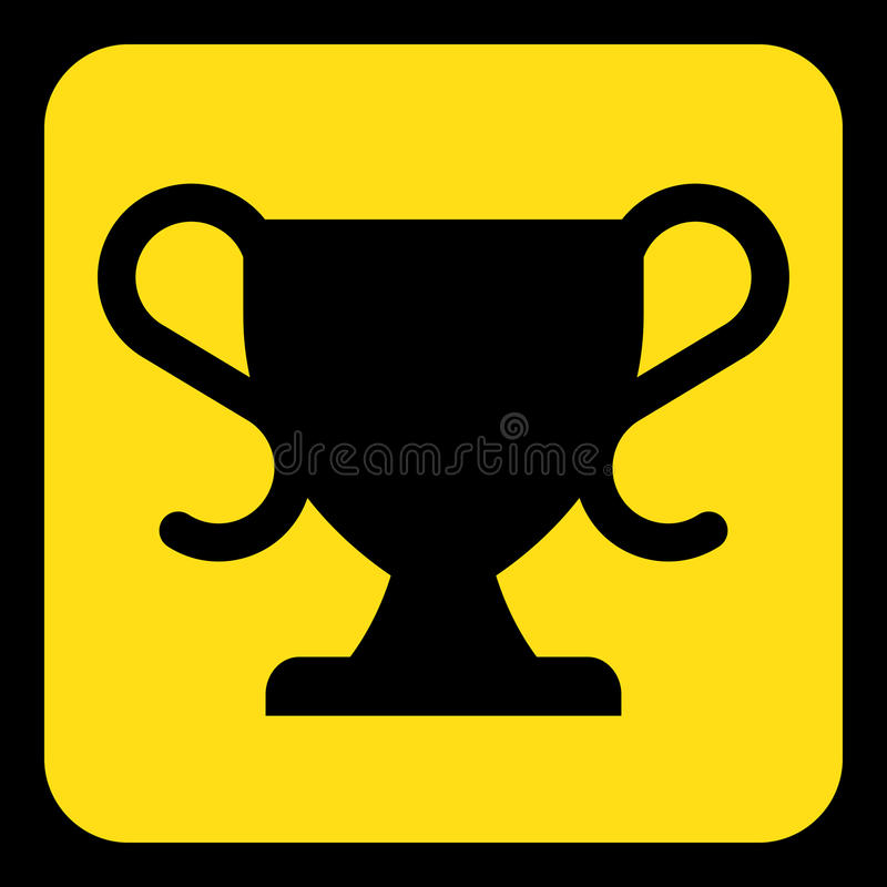 Yellow, black information sign - sports cup icon stock illustration