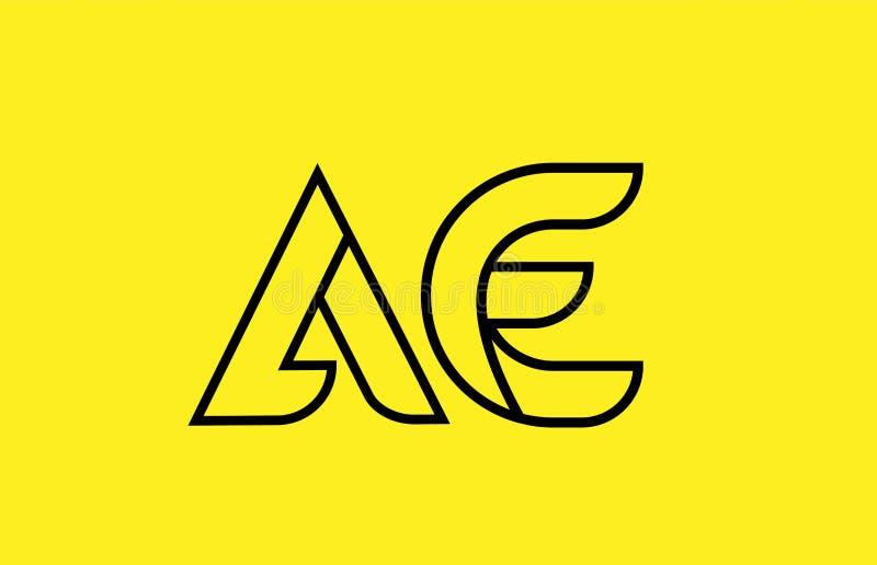 Yellow black line alphabet letter AE A E logo combination company icon design. Yellow black line alphabet letter AE A E logo combination icon for a company royalty free illustration