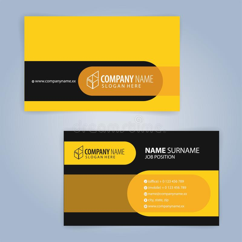 Yellow and Black modern business card template royalty free illustration
