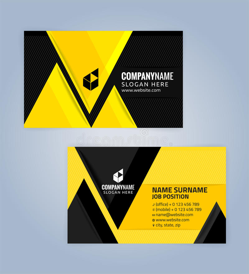 Yellow And Black Modern Business Card Template Stock Vector