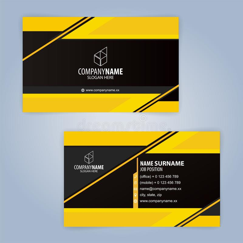 yellow and black modern business card template stock