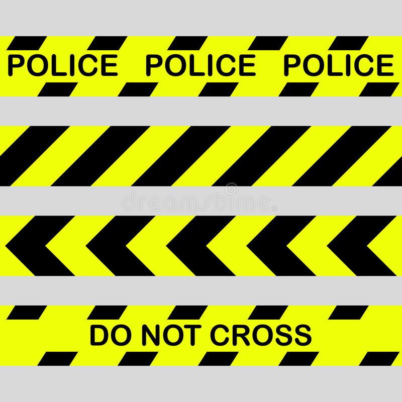 Set Yellow with black police line and danger tapes. Do not cross vector illustration