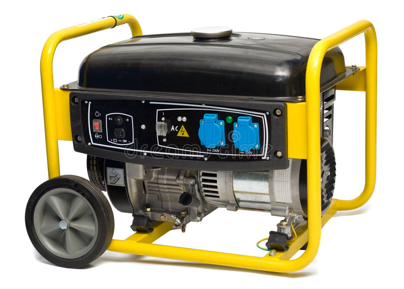 Yellow-black power generator isolated on white stock photos