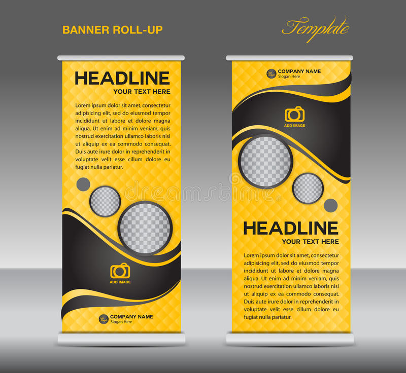 Yellow and black Roll up banner stand template vintage banner stock illustration