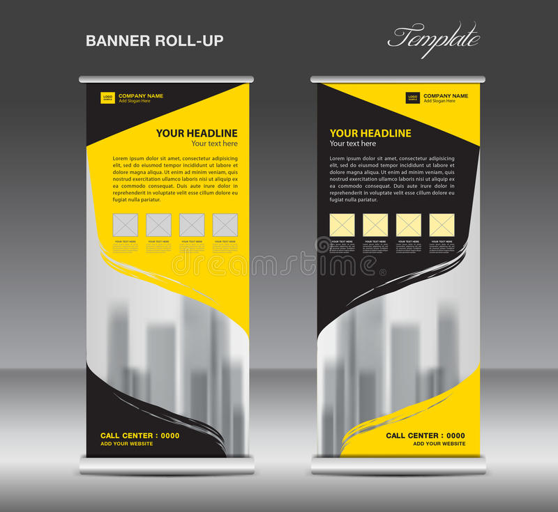 Yellow and black Roll up banner template vector, flyer stock illustration