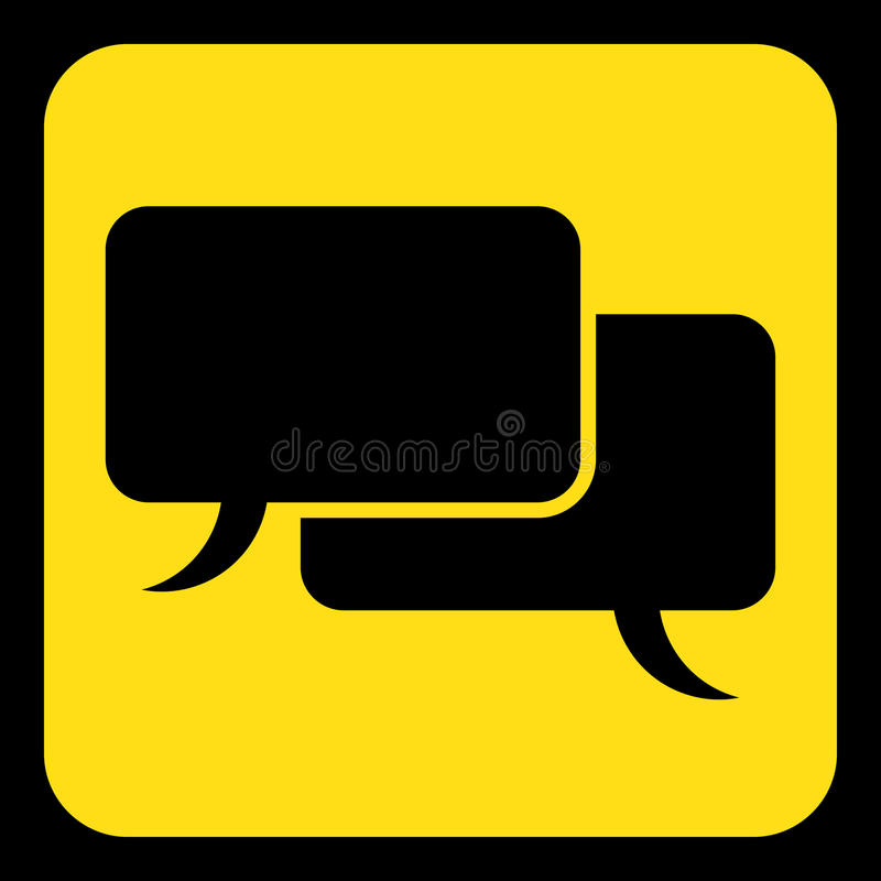 Free Yellow, Black Sign, Two Speech Bubbles Icon Stock Photography - 95313212