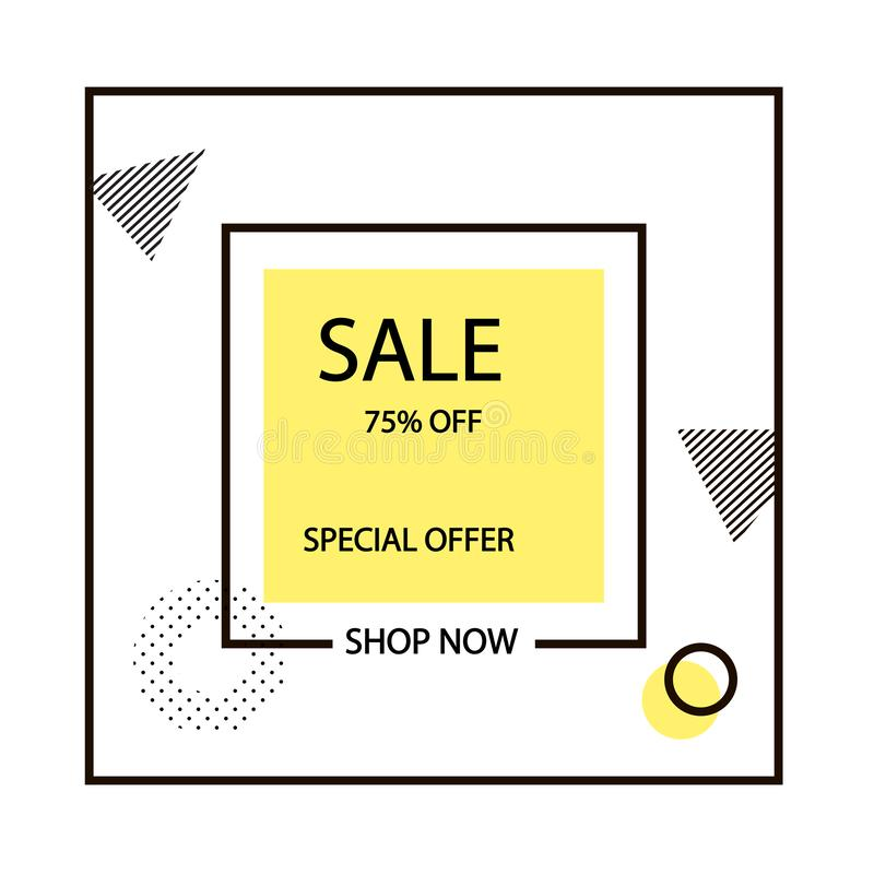 Yellow and black stroke frame 75% discount. Sale banner template design. Big sale special offer. Special offer vector illustration stock illustration