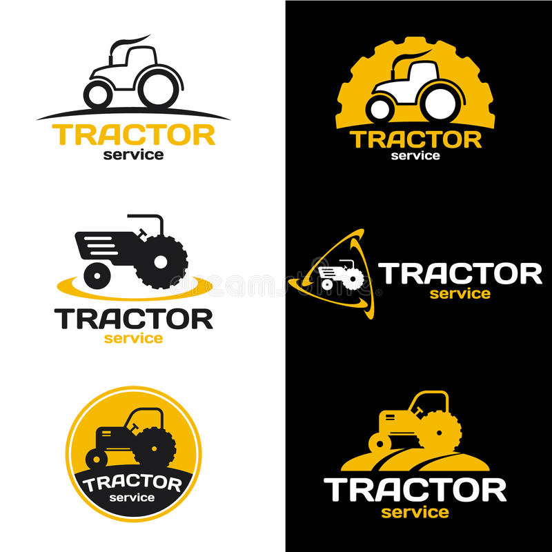 Yellow and black Tractor logo vector set design royalty free illustration