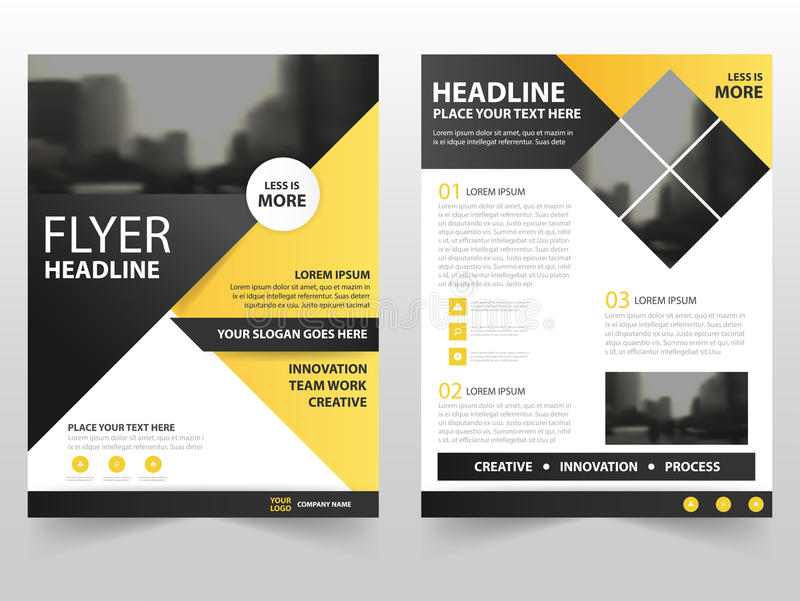 Yellow black triangle business Brochure Leaflet Flyer annual report template design, book cover layout design vector illustration