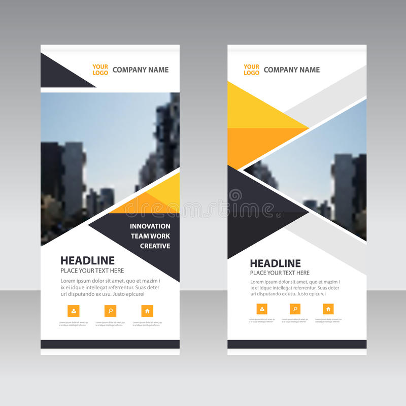 Yellow black triangle Business Roll Up Banner flat design template. Abstract Geometric banner template Vector illustration set, abstract presentation template royalty free illustration