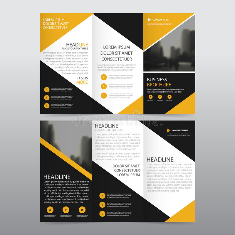 Yellow black triangle business trifold leaflet brochure for Black brochure template