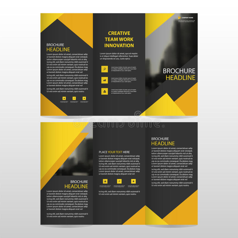 Yellow black triangle business trifold Leaflet Brochure Flyer report template vector minimal flat design set, abstract three fold royalty free illustration