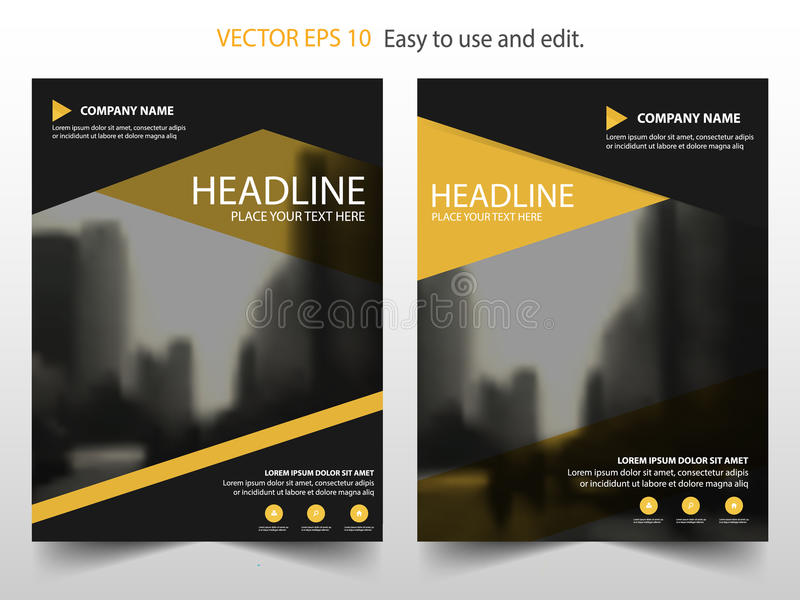 Yellow black Vector annual report Leaflet Brochure Flyer template design, book cover layout design, abstract business presentation stock illustration