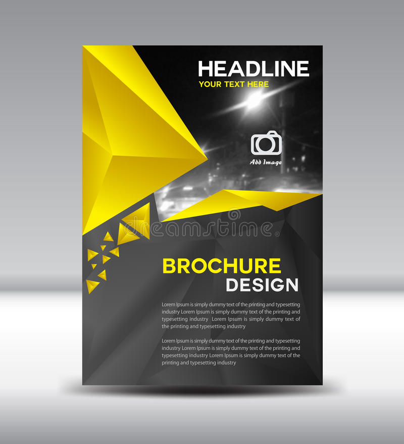 Yellow and black Vector brochure flyer and cover template polygon vector illustration Size A4 stock illustration