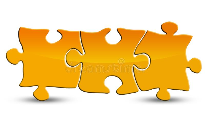 Yellow blank puzzle isolated on white royalty free stock images