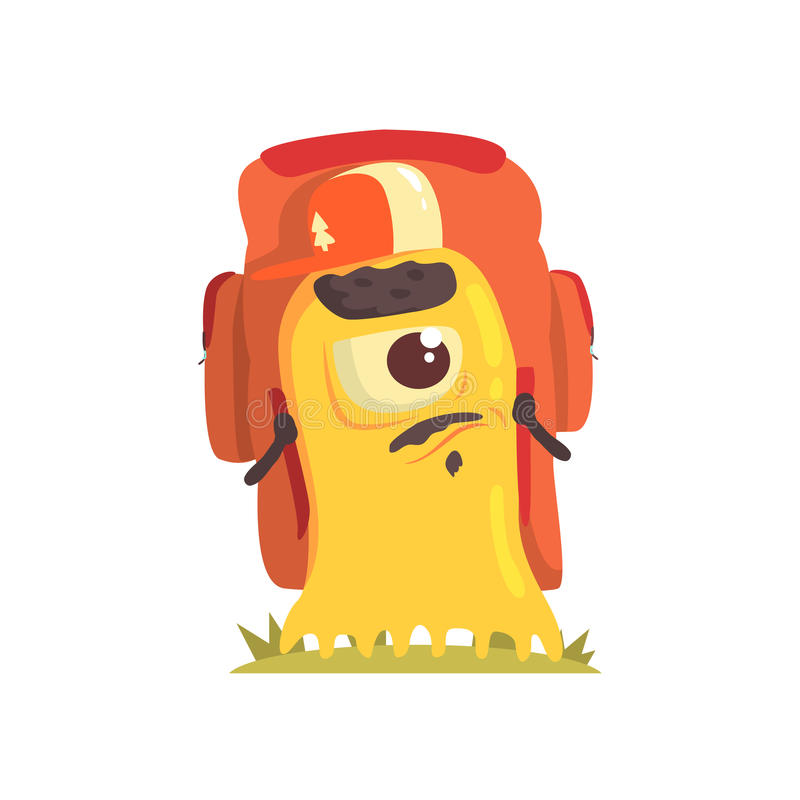 Yellow Blob Monster With Goatee And Moustache With A Backpack, Alien Camping And Hiking Cartoon Illustration. Fantastic Animal On A Hike Outdoors In The stock illustration