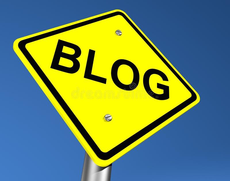 Yellow Blog Road Sign. Yellow Road Sign Indicating Blog vector illustration