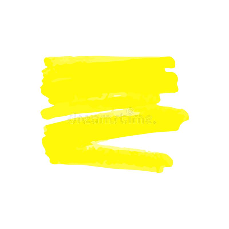Yellow blot or mark from marker or highlighter, pen or brush. Vector isolated illustration in sketch hand drawing style of yellow marker vector illustration