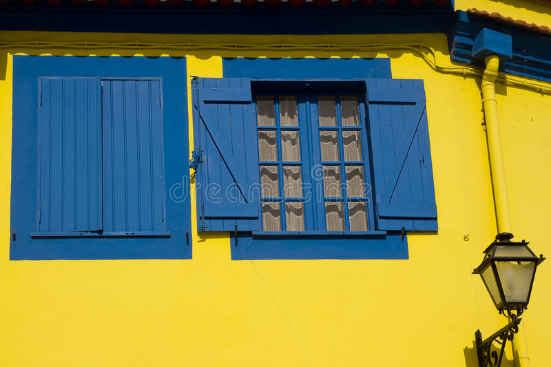 Yellow and blue Aveiro Portugal stock photo