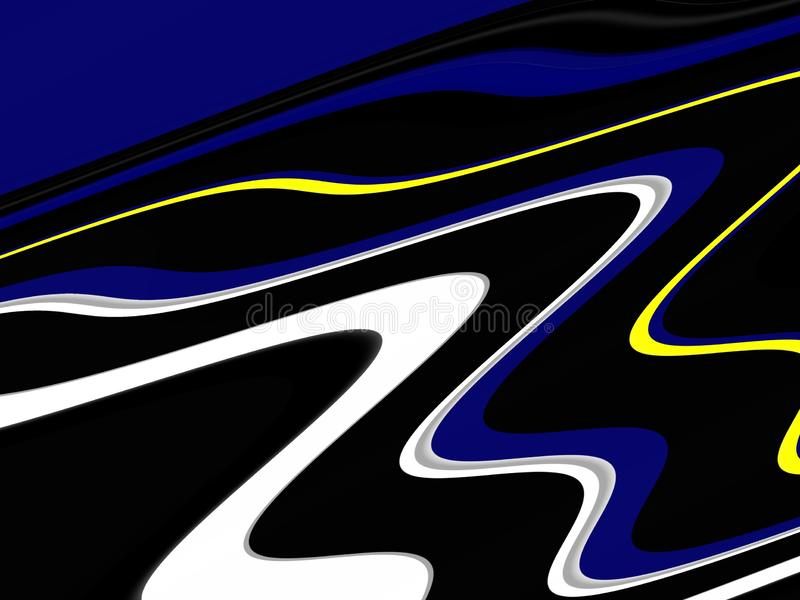 Yellow blue black phosphorescent waves fluid shapes, geometries background on black background royalty free stock image