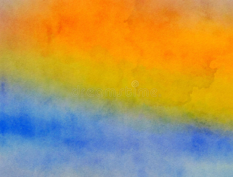 Yellow and Blue Blended Watercolor Paint Texture stock illustration