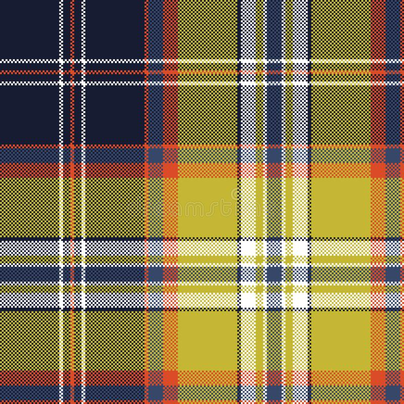 Yellow blue check tartan pixel seamless pattern royalty free illustration