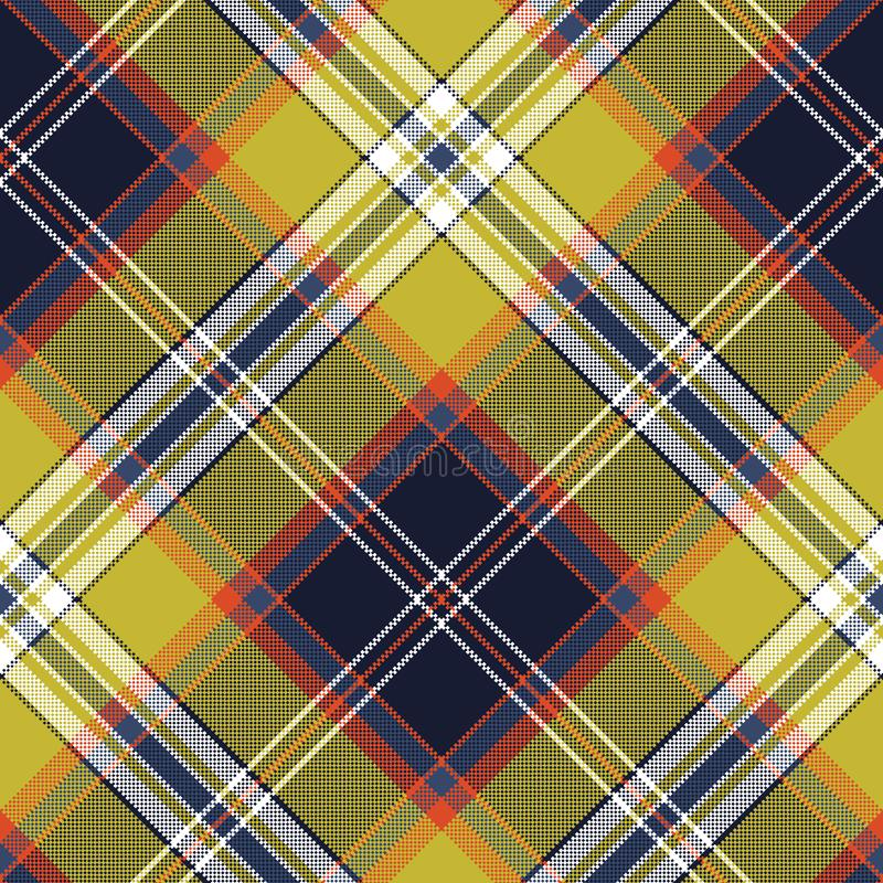 Yellow blue check tartan pixel seamless pattern vector illustration