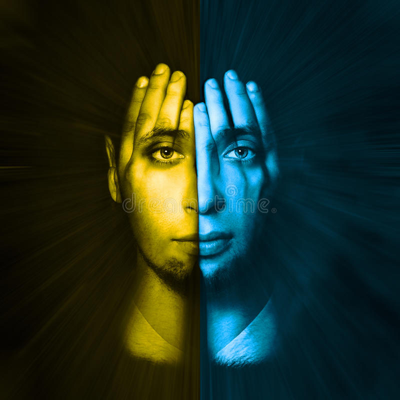 Yellow - blue face visible through his hands. Double Exposure royalty free stock photos