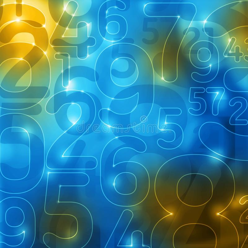Yellow blue glowing numbers abstract background vector illustration