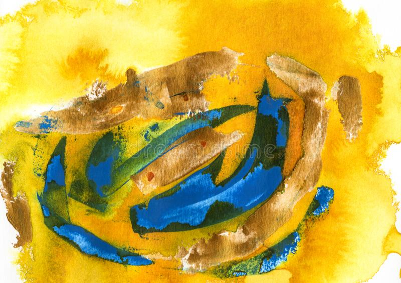 yellow, blue and green acrylic and watercolor royalty free stock photo