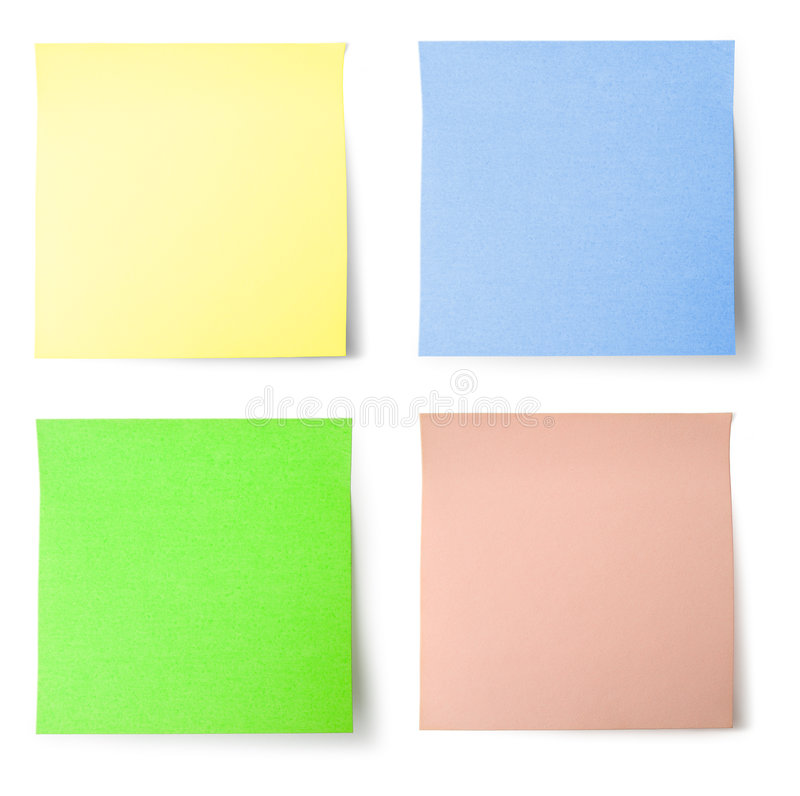 Yellow, blue, green and pink note paper. Yellow, blue, green and pink (colorful) note paper with shadow - isolated royalty free stock photography