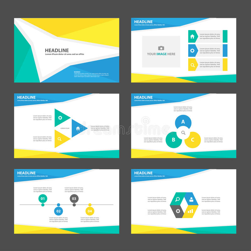 Yellow blue green presentation template Infographic elements flat design set for brochure flyer leaflet marketing royalty free illustration