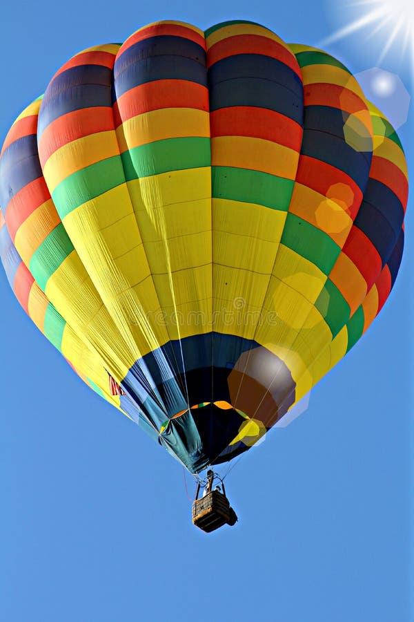 Yellow Blue Hot Air Balloon stock photo