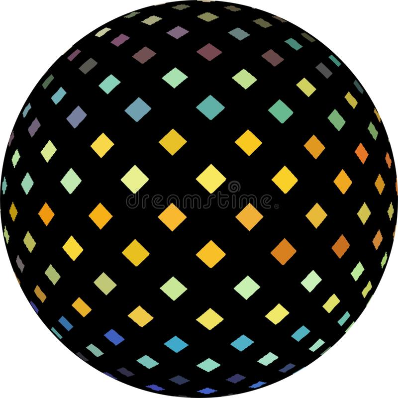 Yellow blue iridescent bright crystals on black ball 3d illustration. Mosaic textured sphere abstract object isolated. royalty free illustration