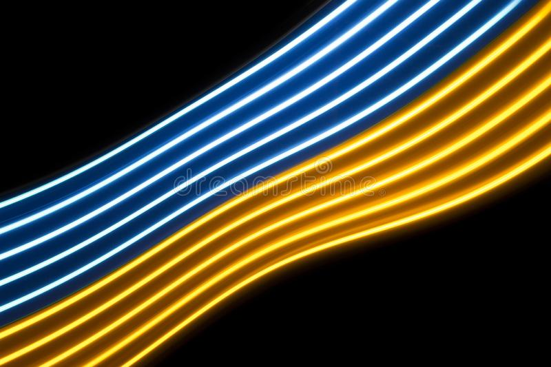 Multicolor light curve lines on a black background. Yellow and blue light dynamic lines on a black background stock image