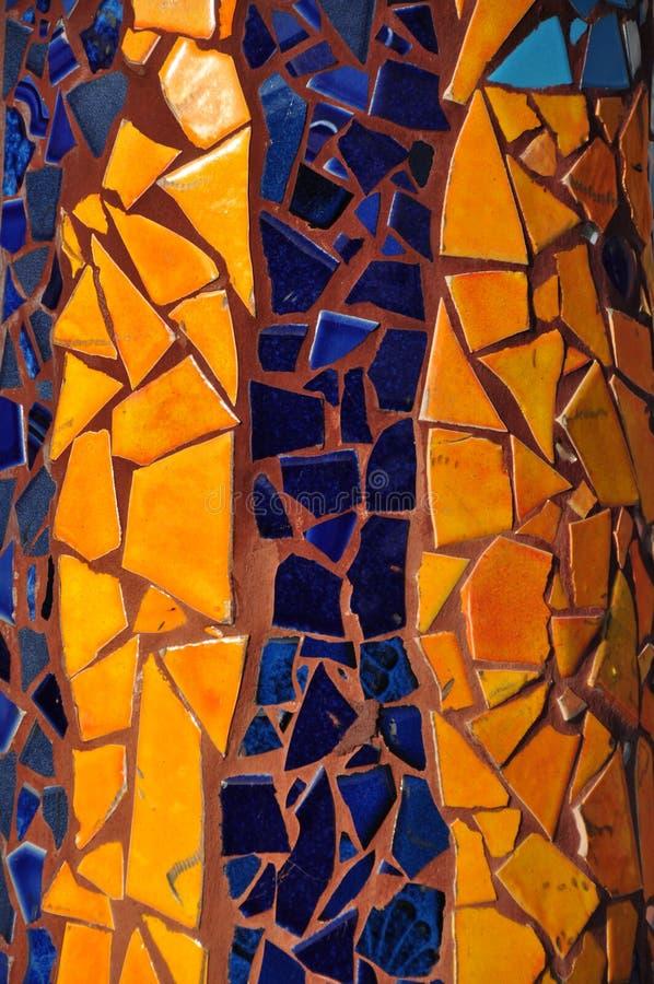Yellow & Blue Mosaic Ceramic Tile stock photo