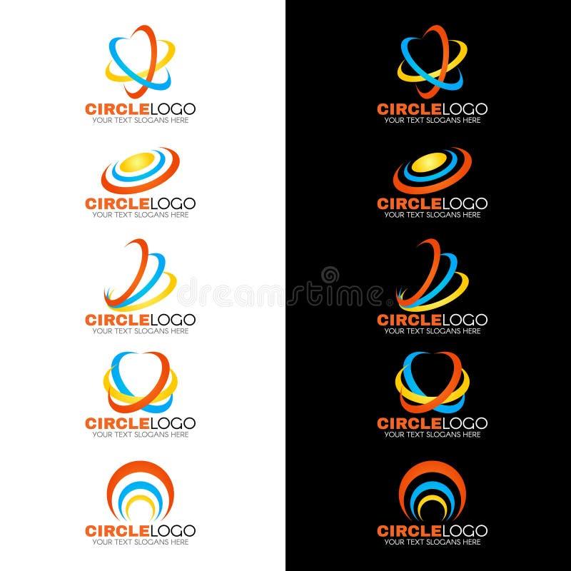 Line Logo Design : Yellow blue orange circle wave line logo vector design