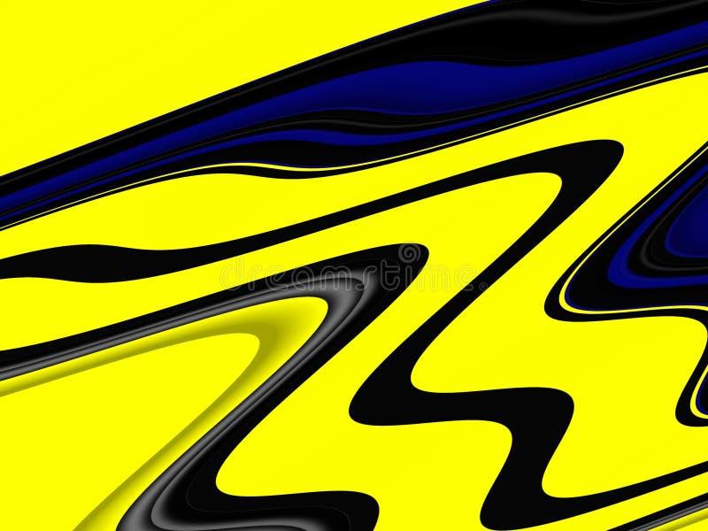 Yellow blue phosphorescent waves fluid shapes, geometries background on black background. Yellow blue phosphorescent green waves blurred fluid background royalty free illustration