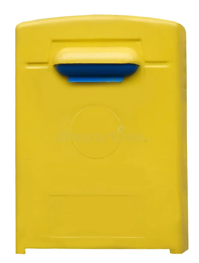 Yellow blue public mailbox isolated on the white background. Blank mail box for correspondense royalty free stock photography